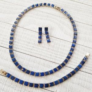 Jewelry - Vintage 950 Silver Lapis Lazuli Square Jewelry Set